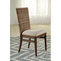 Feel like you brought souvenirs back from the islands with these charming tropical style dining chairs from our Devonshire collection. Tightly woven Kubu backs display master craftsmanship. Comfortable seating is supported by comfortable Pirelli webbing construction. The cushioned seats are upholstered in a neutral taupe fabric so as not to distract from the focal point of the woven backs. A transitional style frame is crafted of mahogany wood with mahogany veneers in a rich wire-brushed...