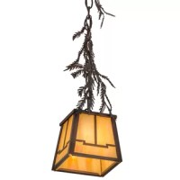 Enjoy the natural beauty of the American woodlands with this inviting pendant. Accented with pine branches, pine needles and hardware in a handsome rust with wrought iron finish, the geometric styled lantern features stunning beige iridescent art glass. Handcrafted by Meyda artisans at the foothills of the glorious Adirondack Mountains, the fixture can be placed in multiples to illuminate counters, islands, bars and tables.