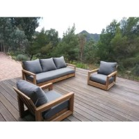 Solid teak seating group in contemporary low profile setting. Lean back to feel comfortable. Sturdy construction comes with sunbrella cushions.