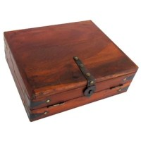 What a great and functional piece of early American Decor, this antique reproduction travel writing lap desk. Used in the 18th and 19th century by men and women alike, a wood writing travel desk like this would store a wiring pen, inkwell, paper, finished document, ink blotters, and more, while providing the user a work surface on which to write. With several compartments and a removable tray, you can now own a piece of history and store your own inkwells, pens, paper, and other antique writing...