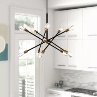 Showcasing a striking silhouette sparked by the Space Race, this 10-light sputnik chandelier brings a splash of mid-century modern style as it boosts the brightness in any arrangement. Crafted from metal, this fixture features a round canopy, a slender downrod, and adjustable crossing arms that you can rearrange to suit your needs. Ten compatible 60 W medium-base bulbs (not included) sit exposed at the ends to cast light in an ambient direction.