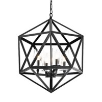 This 4-Light Geometric Chandelier features a 4 light design that will illuminate and glow in any room you put it in. This chandelier would be great for an entryway or any other rooms. Easy to clean and assemble.
