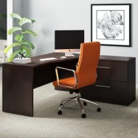 Whether you're looking to spruce up the office space at home or at work, this executive desk is here to help. Crafted from manufactured wood with a laminate top, this piece sports an L-shaped silhouette with knee space under one side and included drawers under the other, so you'll have plenty of space to work and tuck away loose odds and ends. A neutral finish allows it to blend with a variety of color schemes. Plus, it's backed by a five-year warranty.