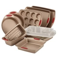 The Rachael Ray Cucina Nonstick Bakeware 10-Piece Baking Pan Set is the perfect bakeware team for sweet and savory oven-made treats. This nonstick bakeware is constructed from heavy-gauge steel with rolled rims for everyday durability. Bake pans feature long-lasting nonstick inside and out for outstanding food release with quick cleanup, and the baking pan set includes all the essential bakeware items for delish baking results. Oven safe to 450°F, the silicone grips provide a solid...