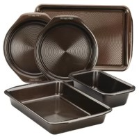Get delectable color and sweet nonstick action with the durable, reliable Circulon(r) Nonstick Bakeware 5-Piece Bakeware Set. Superior nonstick technology and solution-driven design set Circulon bakeware apart from other nonstick bakeware. The technology begins with raised circles on the baking surface that are coated with PFOA-free premium-quality nonstick. Rolled-rim bakeware design includes distinctive chocolate brown color inside and out, and wide handles for plenty of grip, even with bulky...