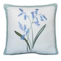 This square decorative pillow repeats one of the matching quilt's bouquets embroidered against smooth creamy cotton. The pillow is available in yellow flower or blue flower options. Both are trimmed in blue with self-fabric binding.