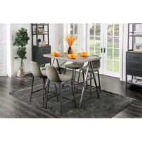 Enjoy casual dining and entertaining with this 5-piece Mid-Century Modern counter-height dining set. Crafted with a metal frame and legs in a dark gray finish, the table features a wood plank tabletop, and A-shaped legs with diagonal supports for a look that ensures casual style and class. Each padded bucket-style chair features grey faux linen and button tufted accents, all of which bring a retro vibe.