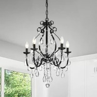 This beautiful candle style chandelier is the perfect solution for your dining room or living room. It has elegant finish hardware that makes it perfect for any design plan. It has an adjustable chain as well as cascading crystal garland intertwining the 5 light design. Its light creates a glow of light in a room that instantly adds mood lighting.