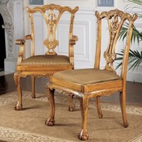 With truly exceptional hand-carving of acanthus, scrolls, and foliage and a warm, rich pine finish you won't find elsewhere, these Toscano-exclusive chairs are in a class all their own. On claw-and-ball feet, the ornate carving that requires three days to complete, rises toward a filigree back that showcases the carvers art to full advantage. This traditional European chairs, with 8-way hand-tied suspension and upholstery in a quality jacquard of gold and blue stripes, create a classic...
