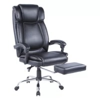 This modern black faux leather upholstered computer chair with highlighted stitching will meet your needs with its home-like comfort and office-like efficiency. It features pneumatic seat height adjustment, 360 degree swivel rotation, stable chrome base, and ergonomic adjustment controls. As for comfort, it reclines to an angle of nearly 90 degrees. The stable base and hooded dual-wheel swivel nylon castors keeps it sturdy even at the lowest reclining position.