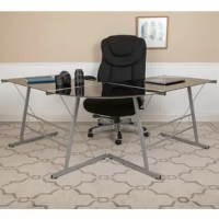 If space is not an issue for you, you should definitely invest in an l-shaped desk. The space that you have on an l-shaped unit is priceless. You will have ample space to accommodate your monitor, laptop, books, office supplies and other necessities. This contemporary computer desk has a black, tempered glass top that sits atop an open designer frame with attractive bracing. You can place on either corner of a room or come off the wall to add an open concept feel, where you can access the desk...
