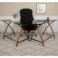 This glass l-shaped computer desk offers a great solution for the user who keeps multiple projects open or needs the extra space to accommodate all their work needs. It features 2 black tempered glass desk surfaces and corner surface that connects them, a space-saving, sliding keyboard tray and crisscross cherry finished legs. A powder-coated finish protects the frame from scratches and floor glides protect your floor by sliding smoothly when you need to move the desk. The l-shaped computer...