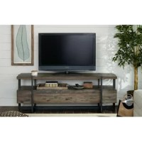 Modern TV stand fuses custom geometric metal bases with rough solid acacia wood boxes with a natural raw finish and an urban design theme.