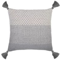 The Alice Handwoven Cotton Throw Pillow features tassels and a color block pattern.