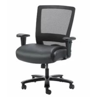 Our heavy duty mesh chair makes the perfect companion to any office, board room, or study. Its 400 pound weight capacity ensures a comfortable sitting experience with a broad range of body types. It's seat is elegantly upholstered in black Caressoft and features a soft pillow top cushions for added comfort. The mesh back allows the cushion to breath with no moisture build up. It has height adjustable arms. The chair features pneumatic gas lift seat height adjustment, a heavy duty spring tilt...