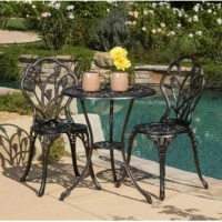 This 3 Piece Patio Bistro Set features a elegant tulip design, powder coated oil rubbed bronze and finished with a brushed antique copper boasting a gorgeous vintage look. Perfect for any outdoor setting patio, garden, balcony, porch and front or back yard.