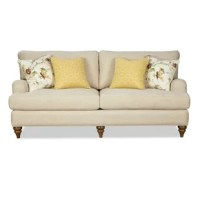 This sofa has classic lines and artisan detailing that set it apart from the run of the mill. Familiar English arms, tapered turned legs, French seaming, and loose pillow backs all combine for an ultra-plush sofa with subtle sophistication. Featuring Paula's exclusive Down Blend seat cushion and 2 pairs of toss pillows, this sofa is not only a beautiful but a comfortable choice for your home.