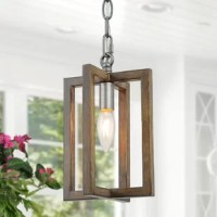 This one-light mini lantern is available in brown and gray. It features a faux-painted wood, crossed rectangle frame.