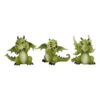 These See Hear Speak No Evil Whimsical Dragon figurines are made of polyresin, hand painted and polished individually.