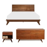 This Platform Configurable Bedroom Set embraces the elements of mid-century modern to bring nature-inspired textures and bold, architectural lines to the contemporary bedroom. Supported by angled solid American walnut, rich brass details support the craftsmanship and beauty of real wood.