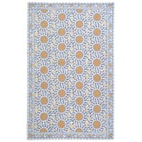 Anchor a living room ensemble or add a pop of pattern to the entryway with this area rug! Showcasing a lively floral medallion motif, it offers hues of ivory, blue. Crafted from 100% wool, it features a low 0.25'' pile height, making it a crush-resistant piece suited for the busiest areas of your home. Though it comes with a cotton backing, we recommend a rug pad for added stability. For general upkeep, vacuum regularly.