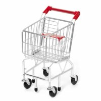 Fun on aisle five! With sturdy metal construction and pivoting front wheels, this kid-size shopping cart is easy to maneuver, fun to fill and built to last.