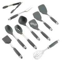 Tool around with delicious kitchen creativity every time you cook and serve with the sturdy, nonstick-suitable Anolon SureGrip 10-Piece Nylon Nonstick Utensil Set, the perfect combination of cooking form and culinary function. From kitchen prep to presentation, Anolon cookware and kitchenware is designed for creativity in the kitchen, and this stylish, cleverly-designed cooking tools set fits right into the mix. The ingenious shapes and beveled edges are shaped to reach in, under and around...