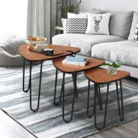 For some people, side tables may be unnecessary accessories. But even small accents like this 3-piece triangle-shaped table set can adorn your home. You can slide them under each other and use it as a living room coffee table, or distribute them separately throughout your home. Multi-function desk set: Use them in your living room as a coffee table, end table, plant stand, telephone table or functional foot rest stool. It also will make a practical night stand in your bedroom . Besides, you...