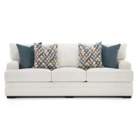 This stationary collection is upholstered in Orlando Snow, an off-white polyester fabric. The accent pillows are in Saxon Denim a dark blue shade and an interwoven line pattern in shades of blue, gold and white.
