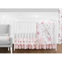 Pink and Grey Watercolor Floral 11 Piece Crib Bedding set have all that your little bundle of joy will need. Let the little one in your home settle down to sleep in this incredible nursery set. This baby girl bedding set features a hand-painted watercolor floral print, a mini grey polka dot, and solid blush pink fabrics. This collection uses the stylish colors of grey, white, and delicate shades of pinks. The design uses brushed microfiber fabrics that are machine washable for easy care. This...