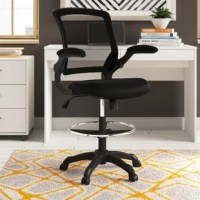 Bring a touch of industrial style to your space with this drafting chair. Enveloped in breathable mesh fabric, this chair features a full back with lumbar support, flip-up arms, and a 2.4