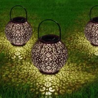Specifications: Material: iron (wash bronze finish), plastic  Dimensions: 7.8 x 7.8 x 7.8 inches  Powered Source: Solar Powered  Bulb Type: 3000K Warm White LED  Battery: 1 x AA 600mAh NI-MH rechargeable battery  Lumen: 10 lumens  Waterproof: IP44  Charging Time: 6-8 hours (when getting enough sunlight)  Working Time: 8-10 hours  pathway lights solar lights