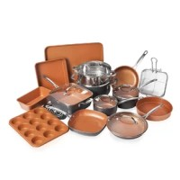 This cookware set is a complete kitchen in a box! You get everything you need to start cooking and baking like a pro with our award-winning Gotham Steel bake-ware and cookware. This set makes cooking meals a cinch-steam, deep fry, roast, boil with easy clean up after in the dishwasher. Baking cakes, cookies and bread are a breeze with our non-stick, scratch-free and metal utensil safe bake-ware. The set includes a cookie sheet, brownie pan, square baking pan, loaf pan, round baking pan. The set...