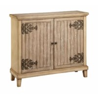 Two-door accent cabinet with one fixed shelf and wire management on the back panel. Hand-painted glazed antique oak finish. Plank top and door fronts. Oversized artisan hinges in bronze finish. Tapered style Collection.
