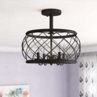 When it comes to good lighting, your light fixture can make it or break it. Find the light you love with this semi-flush mount. Crafted from metal, this piece is suspended by a rod, and features a wire-like drum cage that offers eye-catching appeal. Four curved arms each support any candelabra bulb up to 60 W (not included), and with a damp location rating, it's perfect for highlighting your bathroom or closed patio ensemble. Plus, it comes backed by a ten-year warranty.