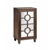 One-door accent cabinet with one fixed shelf and wire management on the back panel. Hand-painted walnut brown wood-tone finish. Mirrored door panel with circle fretwork design. COLLECTION: Melun DIMENSION: HEIGHT (IN): 32 DIMENSION: LENGTH (IN): 18.25 DIMENSION: WIDTH (IN): 13.13