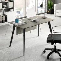 Modern in both design and function, this executive desk features built-in USB ports and outlets on the rectangular top so you can charge electronics as you power through projects. Splayed metal legs support the solid wood tabletop for a hint of mid-century inspiration. Thanks to this desk's neutral brown and black-gray finishes, it's versatile enough to keep up in an always evolving office space. Plus, it's backed by a five-year commercial warranty for added assurance. Assembly is...