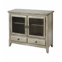 PRODUCT HIGHLIGHTS Two-door, one-drawer cabinet with one shelf Black wire mesh door inserts Hand-painted antique silver leaf finish Metal teardrop pulls and drawer knobs PRODUCT INFORMATION COLLECTION: Aurelio DIMENSION: HEIGHT (IN): 36.5 DIMENSION: LENGTH (IN): 16.75 DIMENSION: WIDTH (IN): 42