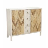 Two-door, four-drawer cabinet with one fixed shelf on each side. Hand-painted whitewash finish . Natural acacia and mango wood chevron patterned door fronts. Bubble glass knobs. COLLECTION: Karri DIMENSION: HEIGHT (IN): 36 DIMENSION: LENGTH (IN): 42 DIMENSION: WIDTH (IN): 14