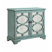 Two-door cabinet with one adjustable shelf and wire management on the back panel. Hand-painted antique ocean blue finish with gray rub through. Antique mirrored glass and Moroccan fretwork on doors. Bracket legs