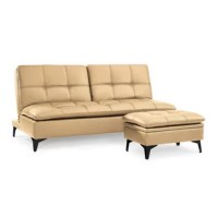 Find the perfect combination of style and storage with the Avondale Splitback Sofa Convertible & Ottoman by Sealy. Its tufted seat and back cushions that feature a gel infused memory foam allows you to chill in absolute comfort. Great for small space living as it occupies very little floor space. The ottoman is perfect for storage for pillows, blankets, and any other household items. The top of the ottoman easily flip over to become a tray or a smaller coffee table!