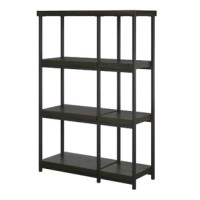 The open design gives this Bookcase an airy look while it's wood and metal construction brings contemporary style to any space. Use it to anchor a minimalist living room ensemble then top it with leather-bound tomes and framed family photos.