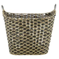 This Contemporary style large wicker basket is handwoven from natural beige flatsedge wicker, a natural Vietnamese seagrass with a smooth texture. The wicker rope is braided into horizontal bands to form the firm, non-collapsible body, creating a durable, large basket for heavy items. The unique rounded rectangular shape boasts tall sides, a curved silhouette, a black diamond pattern, and chic circular metal handles. This decorative basket offers both a neutral-toned decorative basket in...