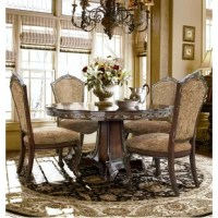 60 round pedestal table has classic styling.  Cushion seat and back chairs with carved wooden frame.  Additional side chairs are available and sold separately.   Thick Foam seat and back for comfort covered in a traditional tapestry Chenile fabric