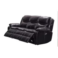 Add function and style to your home decor with the inclusion of this triple recliner sofa. Made sturdily with a combination of wood and metal, upholstered in black faux leather, it features high backrest with pillow top headrest for ultimate seating experience. It is provided with power push button to recline in a comfortable position. Perfect to place in your living room, this sofa is sure to enhance the overall aesthetics of your home.