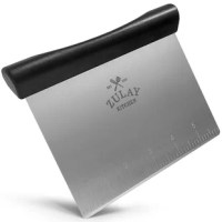 Sleek, high-grade stainless steel blade is crafted to scrape, scoop, cut, chop and more. Large, etched measuring markings along the blade are easy to read for perfect cuts every time. The non-slip handle snuggles comfortably in your hand, allowing you to master prep work and get to the fun part of creating delicious baked goods. Optimize your kitchen with this functional, top of the line scraper.