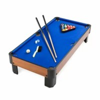 Play pool anywhere with this Tabletop Pool Set. All you need is a sturdy table, and you're ready to shoot a cool game of pool!  This mini-size pool set is the perfect way to play pool without taking up too much space. Don't let its small size fool you—it packs a big pool punch! Small pool table features blue top, rounded corners, full pockets, and wood resin for a realistic feel.  Two pool cues, one set of pool balls, one triangle rack, two pieces of chalk included. Super sturdy construction.