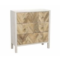 PRODUCT HIGHLIGHTS Three-drawer accent chest. Hand-painted white whitewash finish . Natural acacia and mango wood chevron patterned door fronts. Bubble glass knobs. PRODUCT INFORMATION COLLECTION: Arazia DIMENSION: HEIGHT (IN): 32 DIMENSION: LENGTH (IN): 30 DIMENSION: WIDTH (IN): 12.5