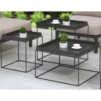 Three tables are better than one. This set of three modern nesting tables with their removable tray tops and open-air construction are perfect for small spaces. Place them in front of your sofa or scatter them about your room as needed. Nest them back together when not in use.