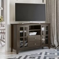 You just bought the ultimate large flat-screen TV. Now, what to do? Hang it on the wall? No, you need the perfect TV stand for storage and to enhance your viewing pleasure. Look no further than our most popular TV stand. It is perfectly sized for TVs up to 65 inches. The 35-inch height puts the TV at a level that is ideal for comfortable viewing. The TV stand has plenty of storage and space for all your media and gaming devices. It has a large centrally located open area with one adjustable...